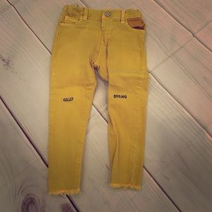Zara Mustard colored jeans. Size 2/3 years